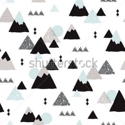 Плакат Seamless winter wonderland geometric japanese fuji mountain theme illustration triangle abstract landscape background pattern in vector