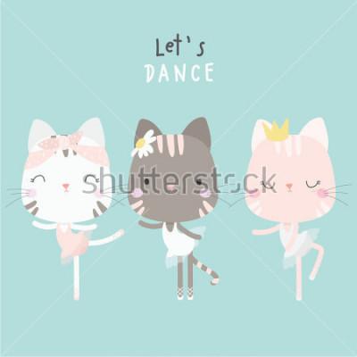 Плакат cute cat dance