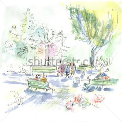 Плакат Summer park, sketch, watercolor