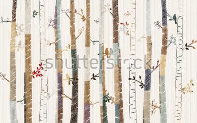 Плакат Forest tree pattern on decorative background wallpaper