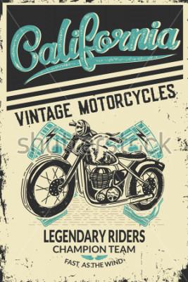 Плакат Vintage motorcycle placard with motorbike. Vector illustration.