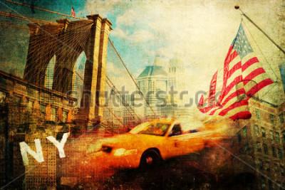 Плакат vintage style collage of New York city symbols