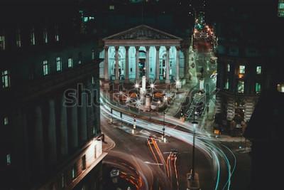 Плакат Долгая выдержка - Королевская фондовая биржа - Лондон - Легкие трассы - Лондонский Сити
