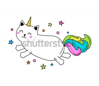 Плакат Забавный персонаж-единорог кошка прыгает по небу. Плоская векторная иллюстрация