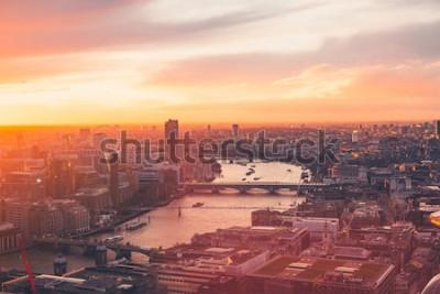 Плакат Лондонский горизонт - Темза - Закат - Лето - Небесный сад - Оранжевый