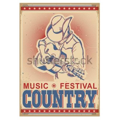 Плакат Американский музыкальный фестиваль фон с музыкантом, играющим на гитаре. Вектор ретро постер с текстом на старой бумаге