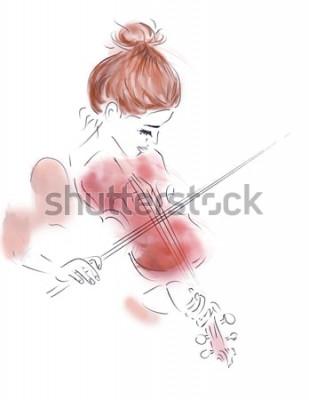 Плакат Иллюстрация девушки, играющей на скрипке