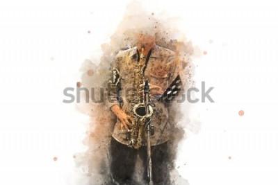 Плакат Абстрактный саксофон на переднем плане. Крупным планом, Акварельные краски джаз, играет на саксофоне.