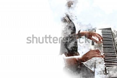 Плакат Абстрактная красивая рука играя клавиатуру переднего плана рояля Предпосылка картины акварели и иллюстрация цифров чистят щеткой к искусству.