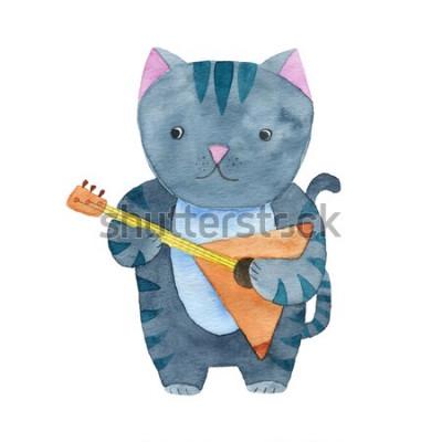 Плакат Милый акварельный кот играет на балалайке или на гитаре