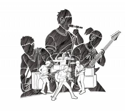 Плакат Музыкант играет музыку вместе, музыкальная группа, художник графический вектор