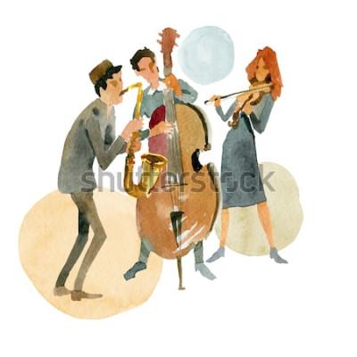 Плакат Акварельные иллюстрации Инструментальное джазовое трио, состоящее из контрабаса, скрипки и саксофона