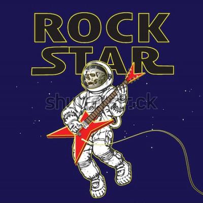 Плакат векторное изображение космонавта в образе рок-музыканта в космосе в стиле мультяшной графики