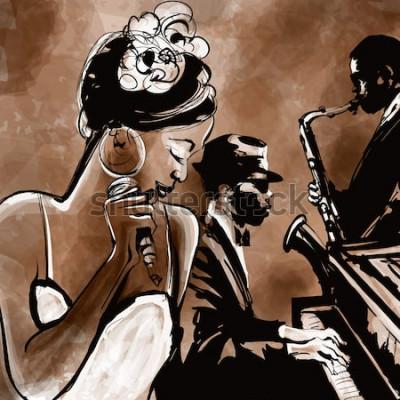 Плакат Джаз-бэнд с певцом, саксофоном и фортепиано - векторная иллюстрация