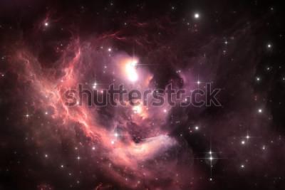 Плакат Ночное небо космический фон с туманностью и звездами, иллюстрация