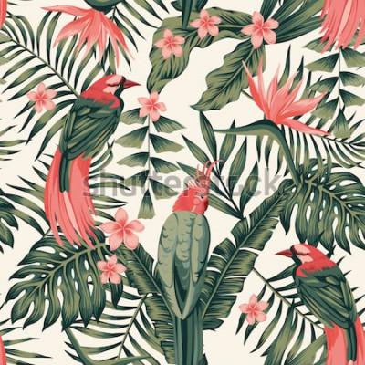 Плакат Тропические листья, цветы франжипани, райские птицы, попугай абстрактные цвета бесшовные реалистичное векторное изображение
