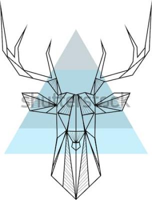 Плакат Вектор битник абстрактный геометрический фон с оленями