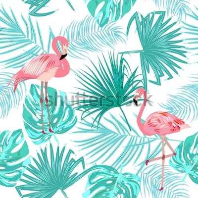 Плакат Бесшовный фон из фламинго, листья монстера. Тропические листья пальмы и цветов. Векторный фон
