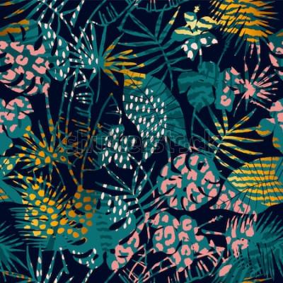Плакат Модные бесшовные экзотический узор с тропическими растениями и принтами животных. Векторная иллюстрация Современный абстрактный дизайн для бумаги, обоев, обложки, ткани, декора интерьера и других поль