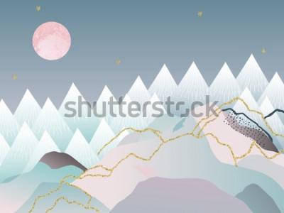 Плакат Абстрактный минимальный геометрический фон. Японский дизайн. Векторная иллюстрация Мраморный дизайн