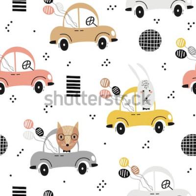 Плакат Безшовная картина младенца с милой лисой, кроликом в автомобиле. Креативная детская текстура для ткани, текстиля, обоев и упаковки. Векторная иллюстрация