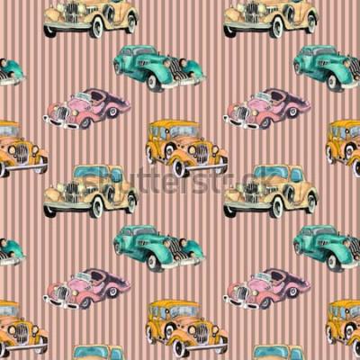 Плакат Акварель рисованной художественный красочный ретро старинный автомобиль бесшовный фон