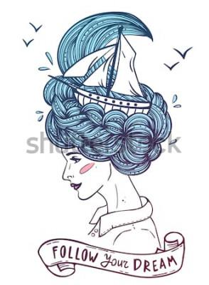 Плакат Нарисованный рукой портрет цвета мечтать молодая красивая женщина с кораблем в волнах вьющихся похожих на море волос. Тату, zentangle, fashion, marine, postcard, винтажная лента с текстом «следуй за с