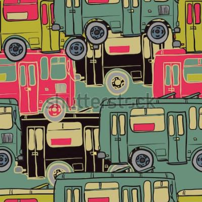 Плакат Текстильная бесшовные модели цветных автобусов