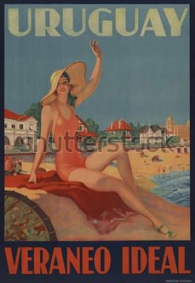 Плакат Уругвай, Веранео Идеал. Плакат о путешествиях 1930-х годов показывает купающуюся красавицу на пляже.