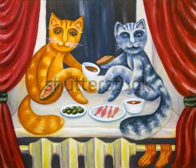 Плакат Романтический кошачий ужин. Кошка и кошка вместе обедают на подоконнике. Домашние животные в интерьере квартиры. Картина маслом. Ручная работа.