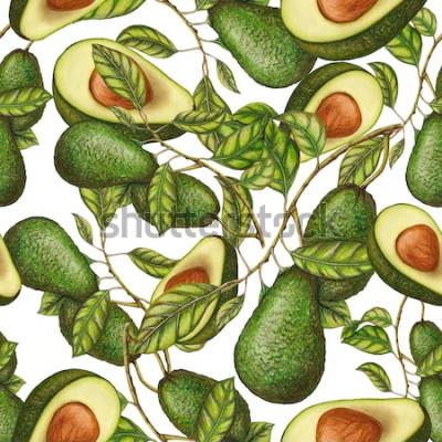 Плакат Бесшовные рисованной авокадо