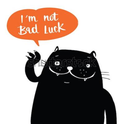Плакат Стиль doodle вектора иллюстрации черный кот и я не везение в речи воздушного шара, дизайне шаржа.