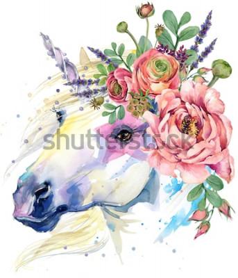 Плакат единорог. акварель букет цветов иллюстрации. фон фантазии. белая лошадь.