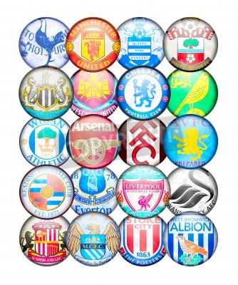 Плакат Команда премьер-лиги 2012/13: Цвета и знаки английских футбольных клубов