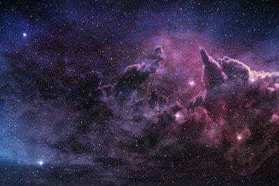 Плакат фиолетовый туманности и космической пыли в поле звезды