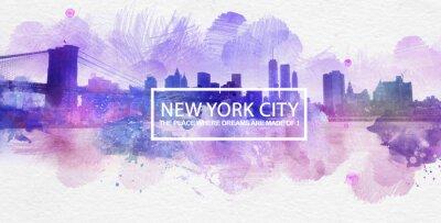 Плакат Фиолетовый Нью-Йорк Мечты Открытка Живопись