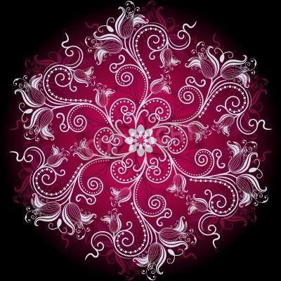 Плакат Фиолетовый, белый и черный круглый цветочные кадр с цветами старинных