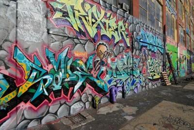 Плакат Квинс, Нью-Йорк - 7 октября 2010 года: Пять Pointz, считается Меккой граффити в Квинс Нью-Йорке, является открытая площадь выставки с многочисленными граффити художников.