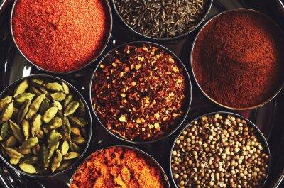 Плакат Стеллаж с традиционными индийскими специями для приготовления пищи - кардамон, куркума, тмин, семена кориандра, корицы и перца чили