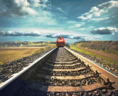 Плакат Railroad with a freight train