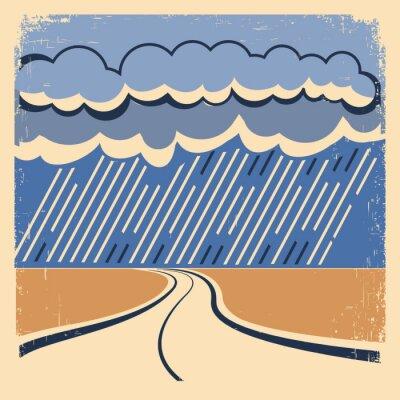 Плакат Дождь Vintage плакат.