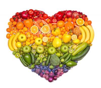 Плакат Радуга сердце из фруктов и овощей