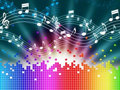 Плакат Радуга музыкальный фон Средства Melody пение и звуковые волны.