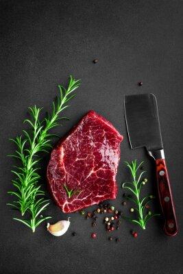 Плакат сырой стейк из говядины