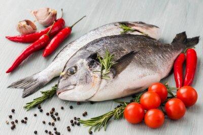 Плакат Сырье свежей дорадо рыба с овощами и специями