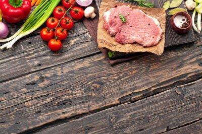 Плакат сырая свинина отбивная с овощами