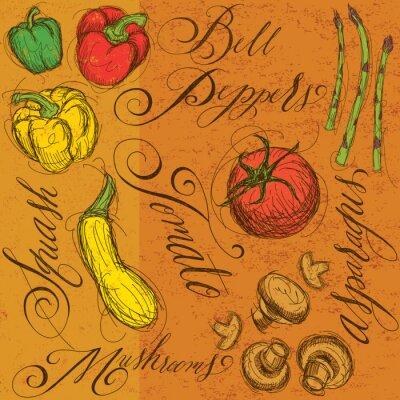 Плакат Сырые овощи с каллиграфией