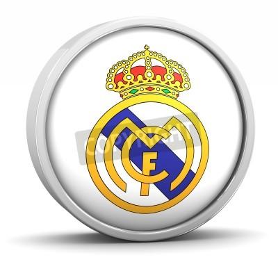 Плакат Реал Мадрид логотип с круглой металлической раме. Часть серии.