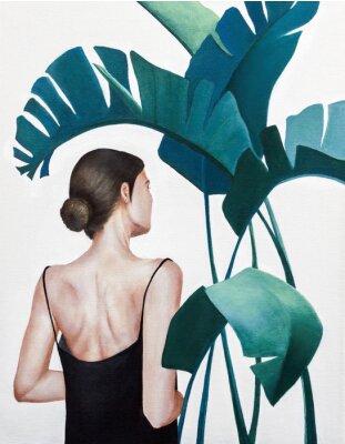 Плакат realistic acrylic painting of woman with green plants