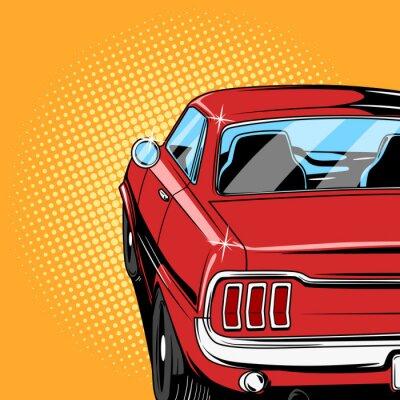Плакат Красный автомобиль комиксов вектор стиль книги